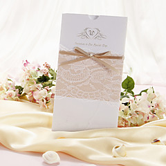 Wedding Invitation With Lace and Bow - Set of 50