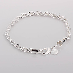 cheap Bracelets-Twisted Alloy Silver Plated Women's Bracelet Classical Feminine Style