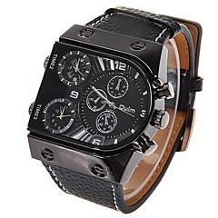 Недорогие Мужские часы-Oulm Муж. Армейские часы Наручные часы Кварцевый Японский кварц С двумя часовыми поясами Кожа Группа Аналоговый Кулоны Черный - Черный Два года Срок службы батареи / SOXEY SR626SW