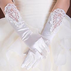 voordelige Handschoenen voor feesten-Kant Polyester Satijn Ellebooglengte Handschoen Klassiek Bruidshandschoenen Feest/uitgaanshandschoenen With Effen