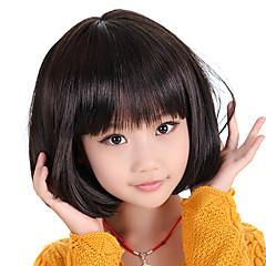 billiga Peruker och hårförlängning-Syntetiska peruker Rak Frisyr i lager Syntetiskt hår Svart Peruk Utan lock Svart