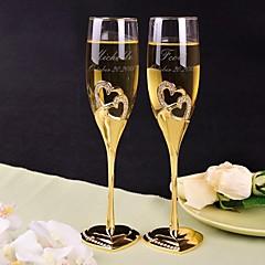 personalizado brindar flautas de ouro duplo diamante coração - conjunto de 2