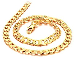 cheap Men's Necklaces-Men's Cuban Link Chain Necklace - 18K Gold Plated, Gold Plated Gold Necklace Jewelry For Wedding, Party, Daily, Casual