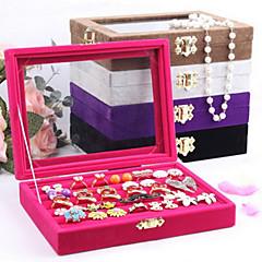 baratos Miçangas & Fabricação de Bijuterias-Caixas de Jóias Pérola Flanela Vidro Forma Geométrica Cor de Rosa Café Preto Púrpura Cinzento