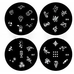 1 stk nail art stempel stemple bildet mal plate b-serien no.5-8 (assortert mønster)