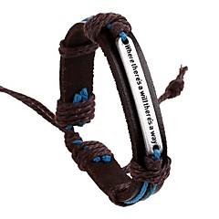 voordelige -Heren ID-armband - Leder Alfabetvorm Europees, Inspirerend, Initial Armbanden Bruin Voor Dagelijks