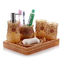 olcso -6 db fürdő gyűjtemény készlet műgyanta anyagból arany színű, fürdő együttes, fürdő tartozék készlet
