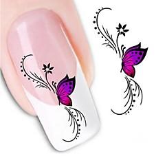 preiswerte Aufkleber für Nägel-1pcs Wasser Transfer Aufkleber 3D Nagel Sticker Nagel Stamping Vorlage Alltag Blume Modisch Hochzeit Gute Qualität