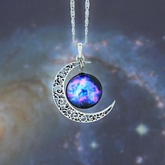 Women's Pendant Necklaces Moon Synthetic Gemstones Alloy Fashion European Galaxy Jewelry For Party Halloween Business Gift Daily