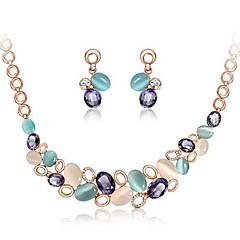 baratos Conjuntos de Bijuteria-Conjunto de jóias Brincos / Colares - Europeu Arco-Íris Conjunto de Jóias Para Casamento / Festa / Aniversário