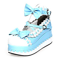 cheap Lolita Footwear-Lolita Shoes Sweet Lolita Dress Princess Platform Shoes Bowknot 7 CM Blue Pink For PU Leather/Polyurethane Leather