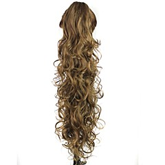 cheap Wigs & Hair Pieces-claw clip synthetic 28 inch brown long curly ponytail color