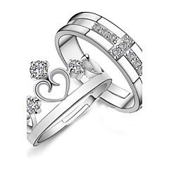 925 anéis de prata de diamante de prata (2 peças) de estilo elegante