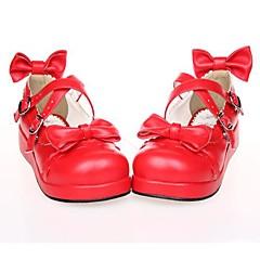 Încălțăminte Lolita dulce lolita Platformă Încălțăminte Nod Papion 3 CM Negru Alb Roșu Pentru PU piele/Piele poliuretan