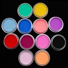 12PCS色の彫刻色のアクリルパワーネイルアートの装飾