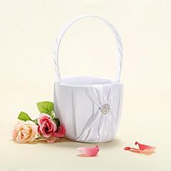cesto di fiori in raso bianco con fiocco nastro fiore ragazza cesto
