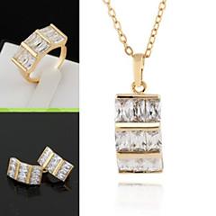 baratos Conjuntos de Bijuteria-Conjunto de jóias - Zircônia Cubica, Chapeado Dourado Importante, Vintage, Casual Incluir Pingentes Dourado / Prata Para / Brincos / Colares