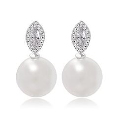 ny ankomst store perle stud øredobber klassiske markise kuttet kubikk zirkon og perle øredobber for kvinner