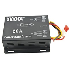 저렴한 -xincol® 차량 자동차 직류 12V의 20A 전원 공급 장치 변압기에 24V 컨버터 블랙