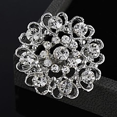Fashion Rhinestone Flower Heart Brooches Random Color