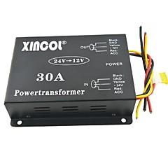 24v xincol® רכב dc מכונית לממיר שנאי ספק כוח 30A 12V עם אוהד רגולציה שחור