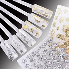 billige Negleklistremerker-24 Vannoverføringsklistre 3D Nail Stickers Blomst Mote Bryllup Daglig Høy kvalitet