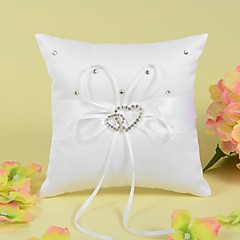 cheap Ring Pillows-Ring Pillow In Satin With Ribbon And Double Heart Rhinestone