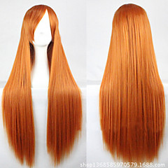 cheap Wigs & Hair Pieces-Synthetic Wig Women's Straight Golden Asymmetrical Synthetic Hair 28 inch Natural Hairline Golden Wig Long Capless Golden yellow