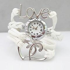 お買い得  レディース腕時計-女性用 ブレスレットウォッチ ファッションウォッチ クォーツ カジュアルウォッチ PU バンド Heart Shape ボヘミアンスタイル 白