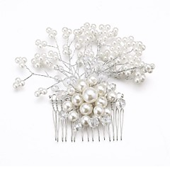 cheap Hair Jewelry-Women's Flower Girl's Crystal Alloy Imitation Pearl Headpiece-Wedding Special Occasion Hair Combs Flowers