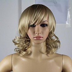 cheap Wigs & Hair Pieces-Synthetic Wig Women's Curly / Loose Wave Blonde Asymmetrical Synthetic Hair 12 inch Natural Hairline Blonde Wig Short Capless Light Blonde