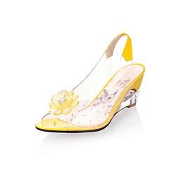 レディース 靴 レザーレット 春 夏 スリングバック ウエッジヒール 半透明ヒール スパークリンググリッター 用途 ドレスシューズ ブラック レッド ブルー ベージュ イエロー