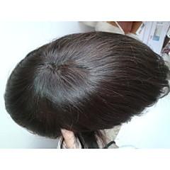 billiga Peruker och hårförlängning-Herr Äkta hår Tupéer Rak Dagligen