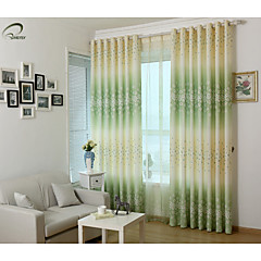 land curtains® et panel grøn blomstret print gardin