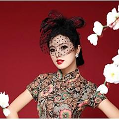 成人用 羽毛 かぶと-結婚式 パーティー カジュアル 屋外 ヘッドドレス コサージュ ハット バードケージベール 1個