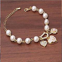 女性 チャームブレスレット コスチュームジュエリー 人造真珠 合金 ジュエリー 用途 結婚式 パーティー 日常 カジュアル