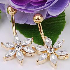 baratos Bijoux de Corps-Cristal Anel de umbigo / Piercing no ventre - Cristal, Imitações de Diamante Flor Fashion Mulheres Bijuteria de Corpo Para Diário / Casual