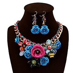 cheap Jewelry Sets-Crystal Jewelry Set - Vintage, Party, Work Include Red / Green / Blue For Party