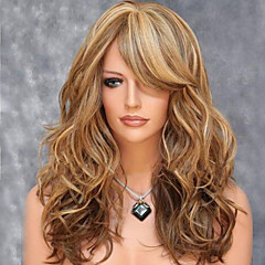 cheap Wigs & Hair Pieces-Synthetic Wig Women's Curly / Wavy / Loose Wave Brown Asymmetrical Synthetic Hair 28 inch Natural Hairline Brown Wig Medium Length / Long Capless Golden
