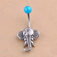 baratos Bijoux de Corps-Cristal Anel de umbigo / Piercing no ventre - Cristal Elefante, Animal Original, Fashion Mulheres Prata Bijuteria de Corpo Para Diário / Casual