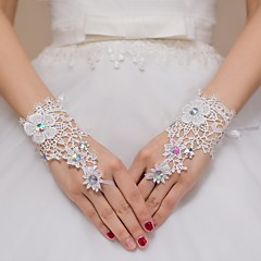 cheap Party Gloves-Lace Wrist Length Glove Bridal Gloves Party/ Evening Gloves Flower Girl Gloves With Rhinestone