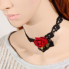Vintage Red Rose Lace Necklace