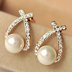 European Style Fashion Rhinestone Crossover Pearl Earrings Elegant Style