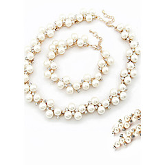 baratos Conjuntos de Bijuteria-Conjunto de jóias - Pérola, Imitações de Diamante Guloseima Incluir Conjuntos de anéis Pearl White Para Casamento / Festa / Noivado