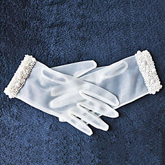 Ivory Tulle  Fingertips Wrist Length Wedding Gloves with Imitation Pearls
