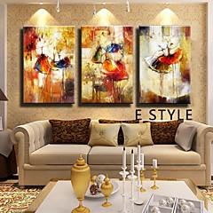 billiga Oljemålningar-Hang målad oljemålning HANDMÅLAD - Abstrakt Klassisk Traditionell Endast Målning / Tre paneler / Valsad duk