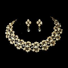 tanie -Damskie Rhinestone Pearl imitacja Ślub Impreza Specjalne okazje Urodziny Zaręczynowy Złoty Stop Náušnice Naszyjniki