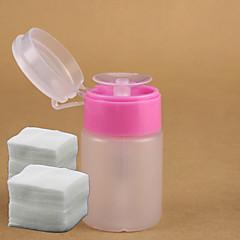 マニキュア液リムーバー+ 200pcsのネイルアートリムーバーコットンネイルアートツールの1個ピンクのポンプディスペンサーボトルが設定ファイル