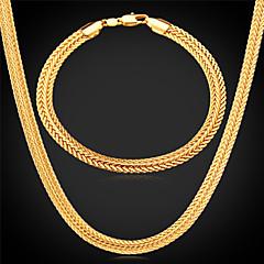 baratos Conjuntos de Bijuteria-Chunky Conjunto de jóias - Chapeado Dourado Incluir Prata / Rosa / Dourado Para Casamento / Festa / Diário / Colares / Bracelete