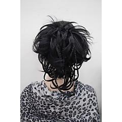 baratos Pedaços de Cabelo-Com Presilha Rabos-de-Cavalo Cabelo Sintético Pedaço de cabelo Alongamento Ondulado Natural